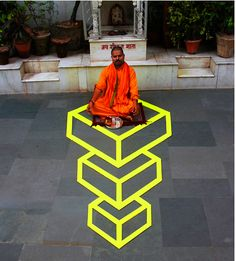 The Amazing Optical Illusion Street Art Of Aakash Nihalani:  Nihalani uses only paper tape and, occasionally, cardboard.