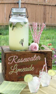 Repinned: Rosewater Limeade Recipe ~ easy but elegant summer beverage, perfect for summer parties
