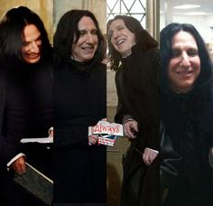 Alan Rickman as Severus Snape. It can be hard imagining Snape laughing, but I hope the character was able to enjoy the same mirth that is in this picture. Harry Potter Film, Harry Potter Characters, Harry Potter World, Snape And Hermione, Harry Potter Severus Snape, Severus Rogue, Alan Rickman Always, Alan Rickman Severus Snape, Hogwarts