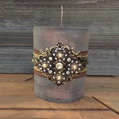 Luxury Pillar Candle, Swarovski Embellishment Candle, Decorative Candles Luxury Candles by Stylishvintagedesign on Etsy