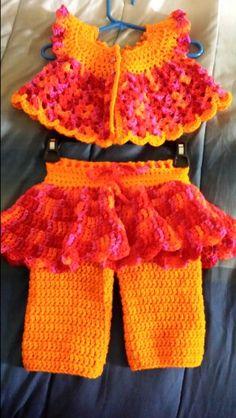 Toddler's play set; crop top with matching skirt pants.