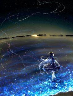 Anime Girl walking ocean lights sun night evening magical water