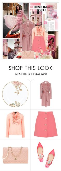 """""""Pink"""" by katik27 ❤ liked on Polyvore featuring Lenox, Boutique Moschino, Miu Miu, Chanel and Jimmy Choo"""