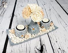 Wedding Table Centrepiece Wooden Candleholders Set on Plate Vase With Flowers in Silver and Light Orange Peach - Wedding table decor (*Amazon Partner-Link)