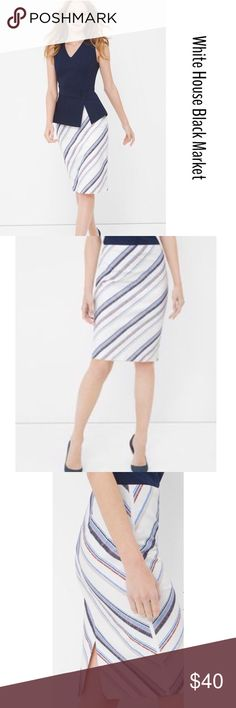 🎀WHBM STRIPE EMBROIDERED PENCIL SKIRT🎀 NOWT, gorgeous WHBM Pencil Skirt sits just below waist, featuring striped design print, studs accents, back split for easy movement and back zip for closure. Fully lined. Line tag to prevent store returns., White House Black Market Skirts Midi