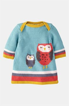 Mini Boden 'My Baby' Knit Dress - knitting inspiration Baby Outfits, Baby Girl Dresses, Toddler Outfits, Kids Outfits, Knitting For Kids, Baby Knitting, Crochet Baby, Knit Crochet, Knitted Owl