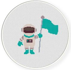 FREE for Feb 25th 2014 Only - Astronaut with Flag Cross Stitch Pattern