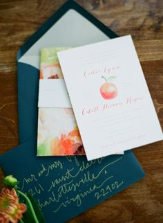 fall wedding invitation watercolor party event teal and peaches