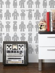Aimee Wilder Big Robots Wallpaper Big Robots Wallpaper: One roll of strippable wall paper Features a hand silk screened robot print Measurements: 26 inches by 5 yards Material: Hand Silk Screen Clay Coated Paper Brand: Aimee Wilder Origin: United States Metallic Wallpaper, Graphic Wallpaper, Modern Wallpaper, Designer Wallpaper, Luxury Wallpaper, Robot Wallpaper, Kids Wallpaper, Wall Wallpaper, Big Robots