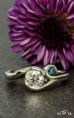Wrap Style Engagement Ring with Blue Sapphire Accent #GreenLakeJewelry