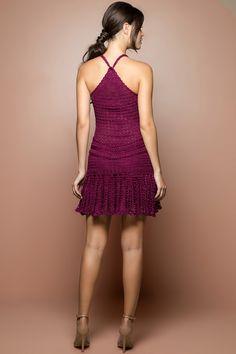 Vestido Crochet Long Reaf Vinho - Vanessa Montoro - vanessamontoro