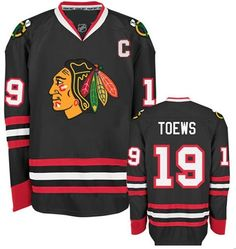 Chicago Blackhawks Mens Jonathan Toews Premier Black Alternate Jersey with AUTHENTIC TACKLE-TWILL LETTERING