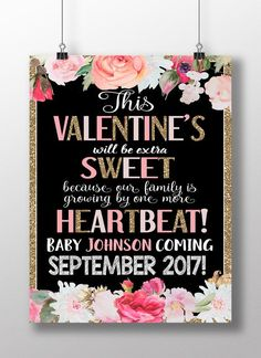 Valentines day pregnancy announcement by CustomPrintablesNY