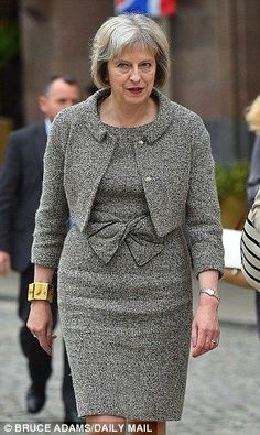 Home Secretary Theresa May 'You know what, you can be clever and like clothes. You can have a career and like clothes. Business Attire, Business Women, Power Dressing Women, Teresa May, Modest Fashion, Fashion Outfits, Work Wardrobe, Elegant Woman, Classy Outfits