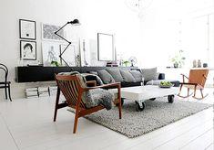 Amazing minimalist apartment in Sweden with mid-century, modern and Scandinavian design elements.