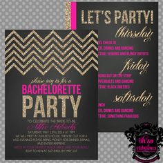 Glitter Chevron Double-Sided /// Bridal Shower Bachelorette Party Invitation /// Customizable and PRINTABLE