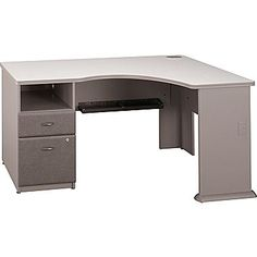 "$440 with assembly; free shipping     36"" d x 5', 5.5' or 6' (adjustable width)    Bush Cubix Expandable Corner Desk, Pewter/White Spectrum"