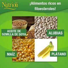 Los fitoesteroles son compuestos vegetales que desempeñan funciones como la de reducir la absorción de colesterol en el intestino. ¡Incorpóralos a tu dieta! • Alubias: alto en proteína y fibra, y bajo en grasa.  • Maíz: aporta proteínas, vitaminas, fibra y minerales. • Plátano: ayuda a regular el colesterol, es rico en hierro, potasio, vitamina A y fósforo. • Aceite de semilla de soya: tiene propiedades que te ayudan a prevenir enfermedades cardiovasculares y colesterol.