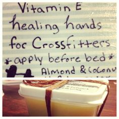 CROSSFIT HAND SALVE FOR RIPPED HANDS How I fixed my boyfriends nasty crossfit hands 1cup bees wax 1 cup coconut oil 1/2 cup of almond oil 10 vitamin e capsules. Melt all of it down on a double boiler pour into containers (I got mine at the dollar store) let cool. File down Callluses  and apply to palms. The vitamin e heals cracks splits and rips while the oils moisturize. #crossfit #rippedhands