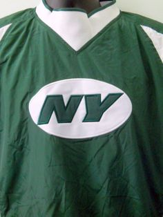 New York Jets Windbreaker Pullover Jacket Med NFL Football Green Size Zipper #Reebok #Windbreaker