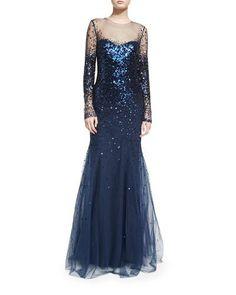 W0CAU Monique Lhuillier Long-Sleeve Degrade Sequin Illusion Gown, Midnight