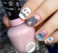 Freehand Pusheen for Valentine's Day nail art by barbrafeszyn – The Best Nail Designs – Nail Polish Colors & Trends Cat Nail Art, Cat Nails, Pusheen, Nail Art For Kids, Thanksgiving Nail Art, Thanksgiving 2017, Nail Polish, Trendy Nail Art, Super Nails