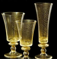 Made with gold leaf.   NasonMoretti Made in Italy Glassware - Trocadero