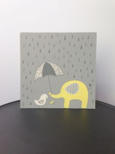 Elephant nursery art, nursery decor, yellow and gray, gray and yellow, baby boy, wall art, painted sign, elephant and bird, baby boy on Etsy, $37.61 CAD