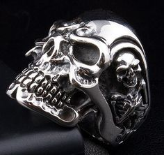 Titan Skull 925 Sterling Silver Mens Ring