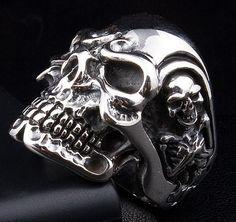 Titan Skull 925 Sterling Silver Mens Ring