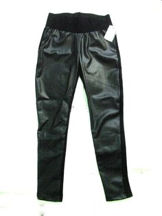 Stunning Zara Black Motorbike Biker Faux Leather Front Leggings  XL #ZARA
