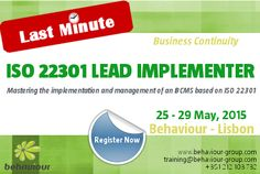 LAST MINUTE REGISTRATION for ISO 22301 Lead Implementer course. REGISTER ONLINE. Master the implementation and management of a Business Continuity Management System (BCMS). #iso22301 #businesscontinuity