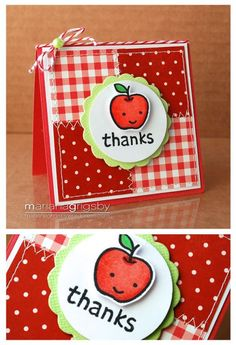So cute!  This would make a great thank you note for a teacher.  A raspberry, strawberry, or cherry could be used too.