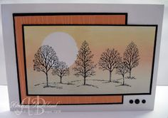 Stampin' Up! ... handmade card from Creating Cards with Andrea  ... Lovely as a Tree ... sponged background with masked off sun ... black mat lines hold the eye on main panel ... beautiful!