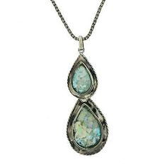"""Roman Glass Pendant Necklace with 16"""" Sterling Silver Oxidized Chain Teardrop"""