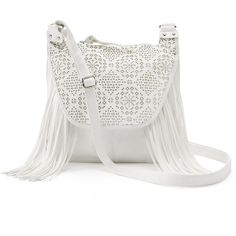 Candie's Stella Perforated Fringed Crossbody Bag (White) ($23) ❤ liked on Polyvore featuring bags, handbags, shoulder bags, white, fringe handbags, fringe shoulder bag, white crossbody purse, white purse and white fringe purse