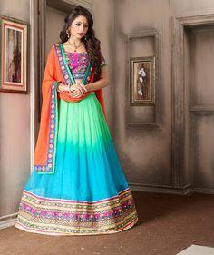 Mint Green Georgette Wedding Lehenga Choli 59640