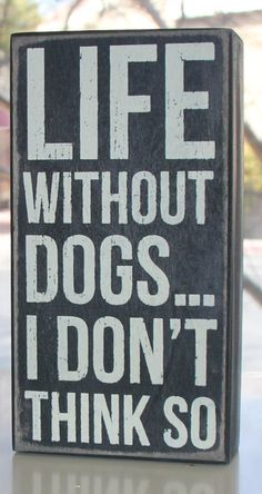 Life without dogs...no way. I can't imagine life without my four legged kids!