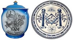 Left, this Maddocks tobacco jar commemorates the 125th anniversary of the Grand Lodge of Pennsylvania in 1911.