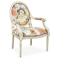 One Kings Lane Darcy Armchair - Coral Neo-Toile Coral Chair, Pink Chairs, Traditional Family Rooms, Luis Xvi, French Chairs, Exposed Wood, Home Living, Living Room, Affordable Furniture