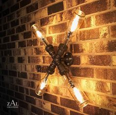 Wall lamp made with beer bottles