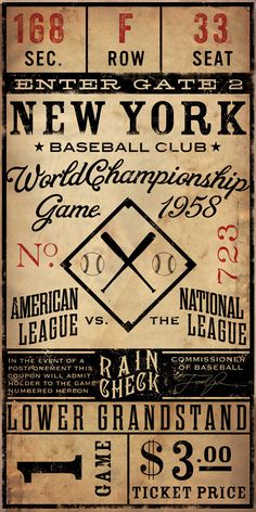 Vintage style Baseball Ticket graphic artwork by geministudio Can customize city, dates, numbers!   Etsy - AWESOME!