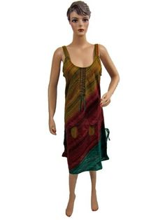 Boho Summer Dress, Olive Green Brown Stripes Handloom Tribal Cotton Dresses Mogul Interior,http://www.amazon.com/dp/B00AZW2PBA/ref=cm_sw_r_pi_dp_jb5qsb1MR8NNSW1S