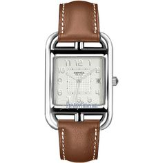 Hermes Cape Cod Quartz Large TGM 040169ww00 Watch (£2,040) ❤ liked on Polyvore featuring jewelry, watches, stainless steel, quartz watches, quartz jewelry, brown jewelry, hermes jewelry and brown watches