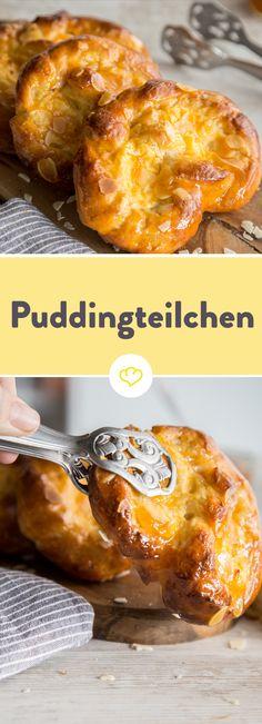 Frisch gebackene, herrlich duftende und noch besser schmeckende Hefeteilchen mit cremiger Puddingfüllung. Zum Reinlegen lecker!
