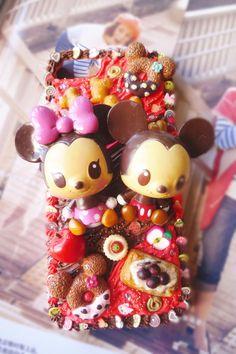 Kawaii Custom Deco Mickey Mouse cream iphone 5( iPhone4) case