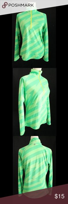 Nike run green athletic sweater size L used  NIKE brand  athletic jacket  SIZE L  GREENS COLOR  long SLEEVE  half ZIPPER  (YELLOW)  ASYMETRIC STRIPES  LIGHT  RUNNING JACKET  PLEASE CHECK PIC  silver PRINTED LOGO, some light stain over the side, I could not picture it, the camera didn't  get it Nike Tops Sweatshirts & Hoodies