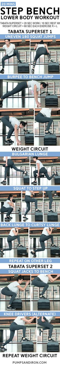 Lower Body Step Bench Workout - alternate between bodyweight tabatas and weighted circuits using a step bench to target the legs and glutes! #workout #fitness #legday