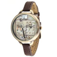 MINI New Fashion double-deck Women Girls ladies Polymer Clay Watches leather Waterproof Pen Round Analog-type Quartz Watch Brown With Gift Box the picture of the dial surface  :    drawing beautiful scenery in your mind ..  #MINI #CE