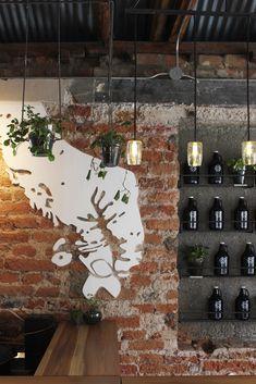 Galería de Cervecería Artesanal Santa Rosa / RAMA estudio - 5 Brick Interior, Brew Pub, Beer Bar, Brewing, Ceiling Lights, Lighting, Garage, Nyc, Home Decor